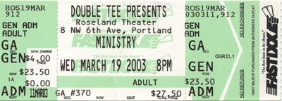 ministry ticket